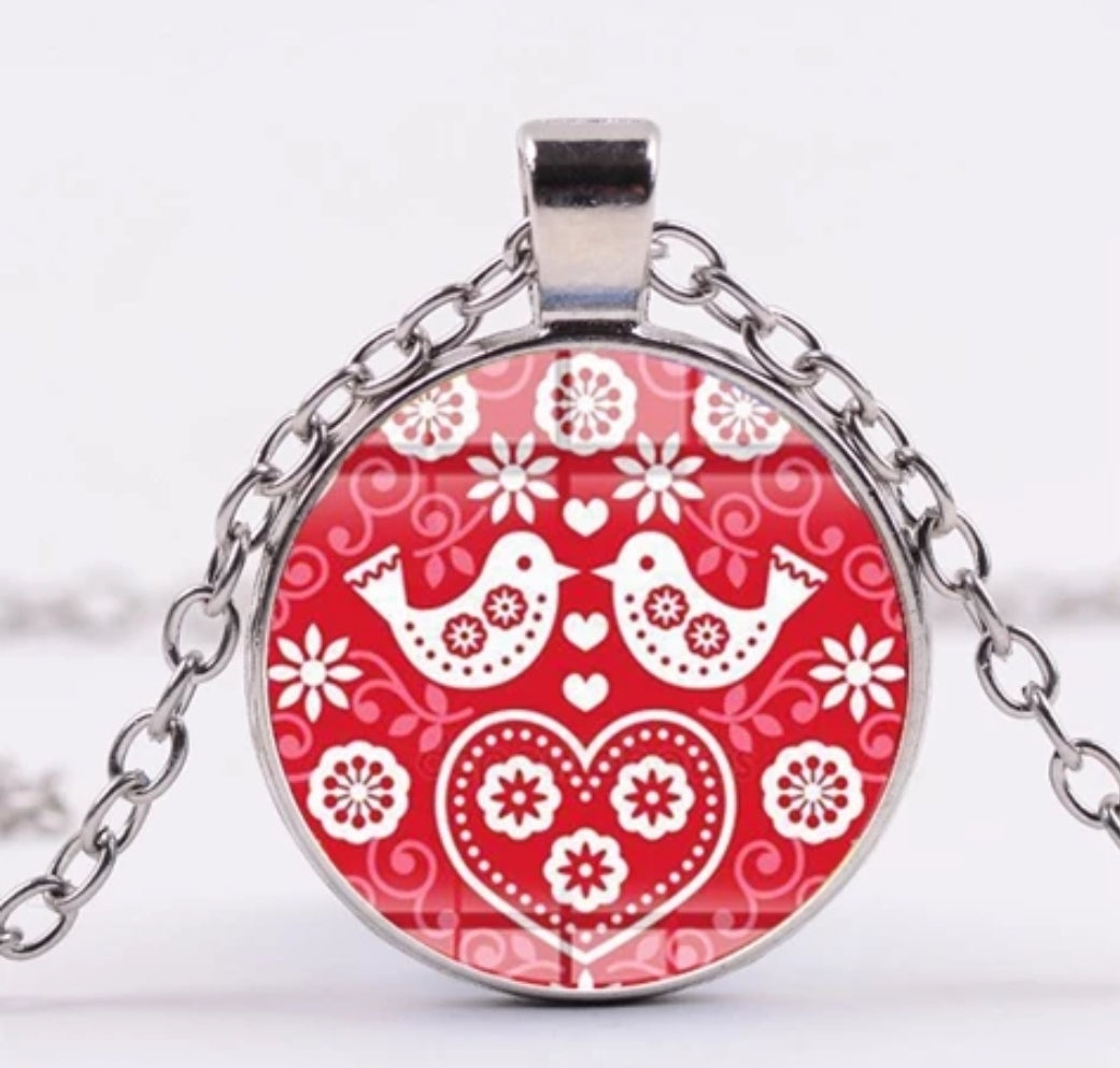*READY TO SHIP* Polish Folk Design Glass Cabochon Pendant Necklace #4 Multiple Colors Available