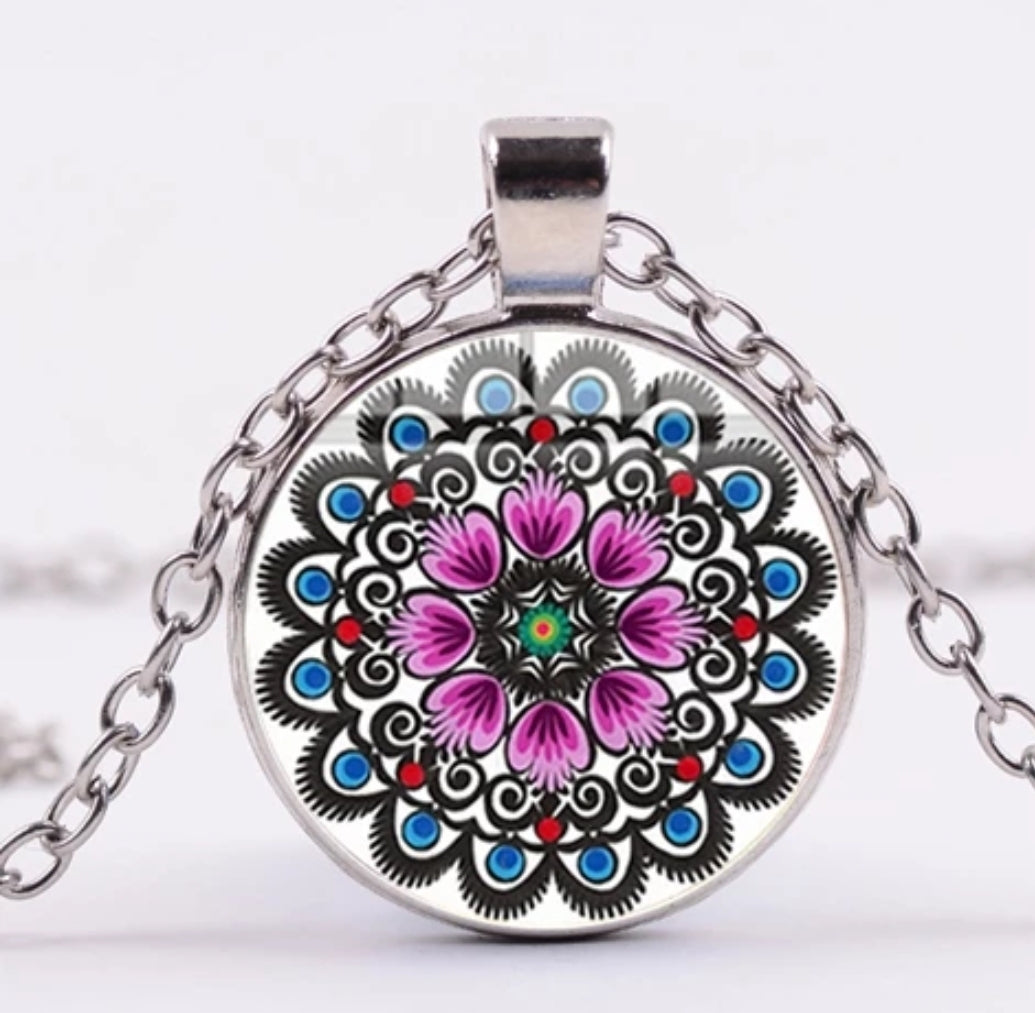 *READY TO SHIP* Polish Folk Design Glass Cabochon Pendant Necklace #6 Multiple Color Options