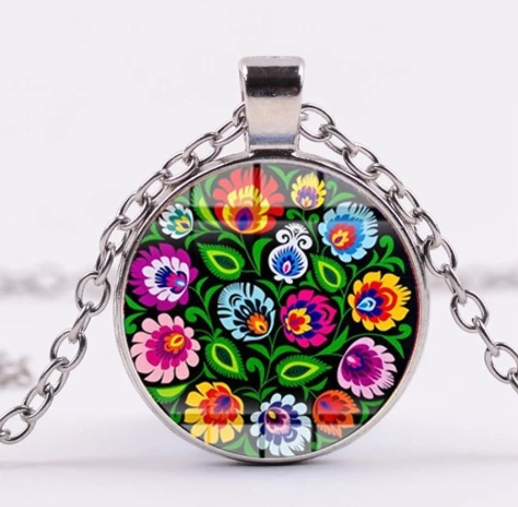 *READY TO SHIP* Polish Folk Design Glass Cabochon Pendant Necklace #7 Multiple Color Options
