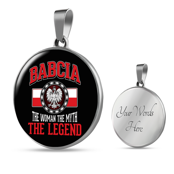 Babcia The Legend With Black Circle Pendant Necklace - My Polish Heritage