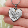 Polish Eagle with Transparent Heart Pendant Necklace - My Polish Heritage