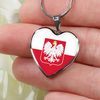 Polish Flag with Heart Pendant Necklace - My Polish Heritage