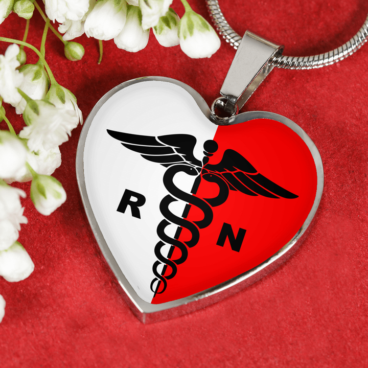 Polish Registered Nurse with Heart Pendant Necklace