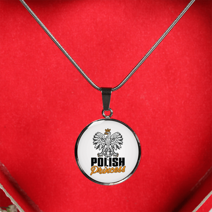 Polish Princess With White Circle Pendant Necklace