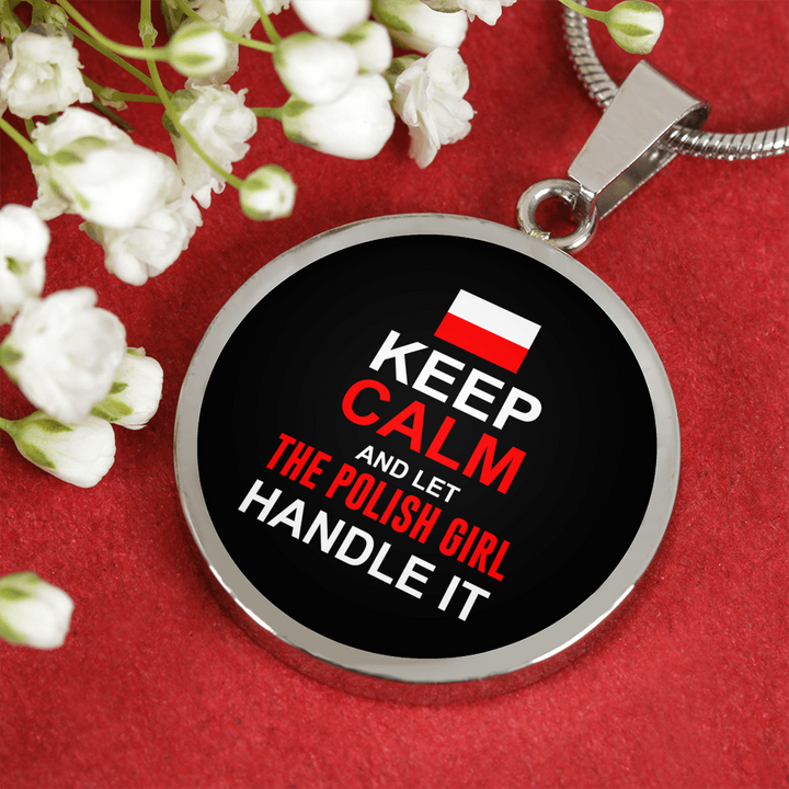 Let Polish Girl Handle It With Circle Pendant Necklace - My Polish Heritage