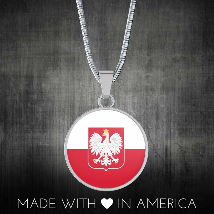 Polish Flag With Circle Pendant Necklace - My Polish Heritage