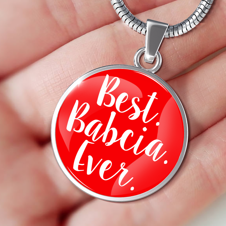 Best Babcia Ever With Red Circle Pendant Necklace - My Polish Heritage