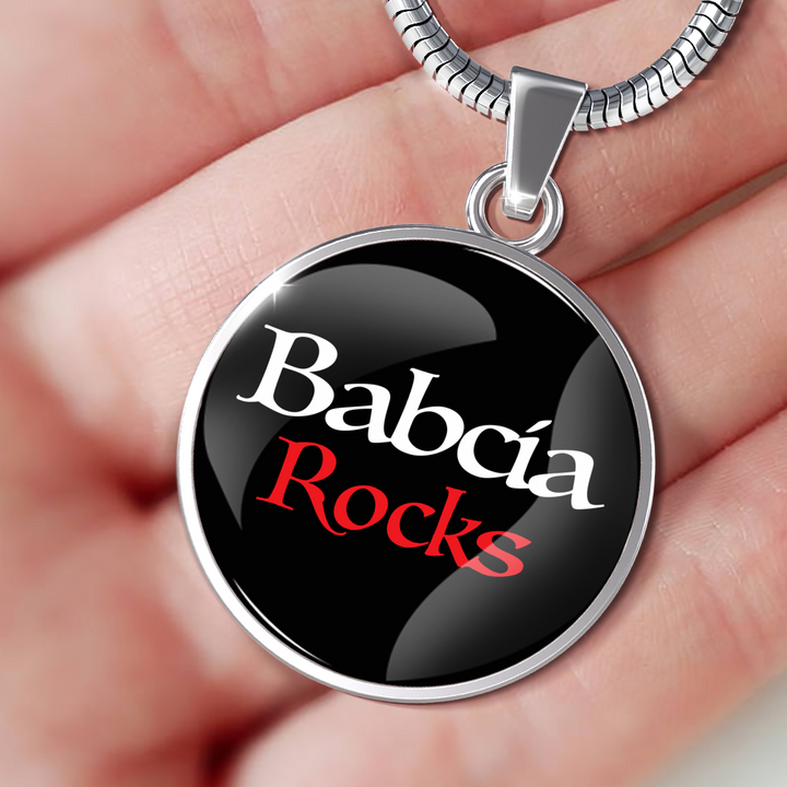 Babcia Rocks With Black Circle Pendant Necklace - My Polish Heritage