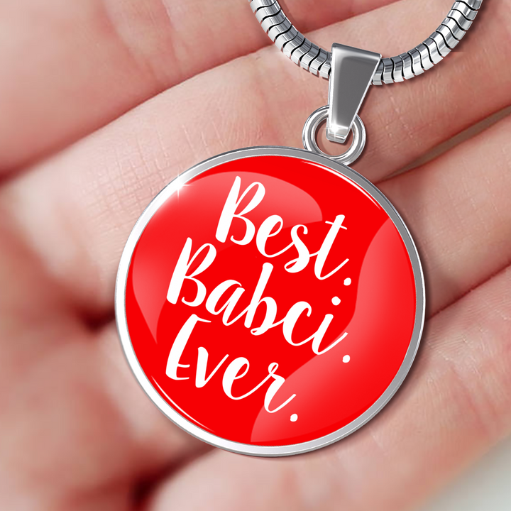 Best Babci Ever With Red Circle Pendant Necklace - My Polish Heritage
