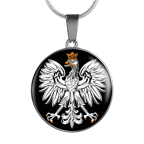 Polish Eagle With Black Circle Pendant Necklace - My Polish Heritage