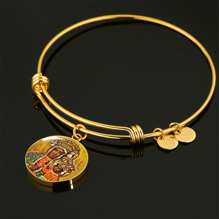 Gold Black Madonna of Czestochowa with Circle Charm Bangle