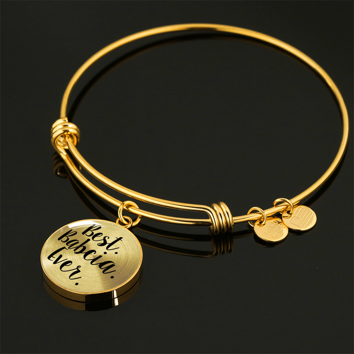 Gold Best Babcia Ever with Circle Charm Bangle