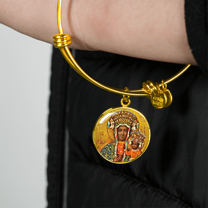 Gold Black Madonna of Czestochowa with Circle Charm Bangle - My Polish Heritage