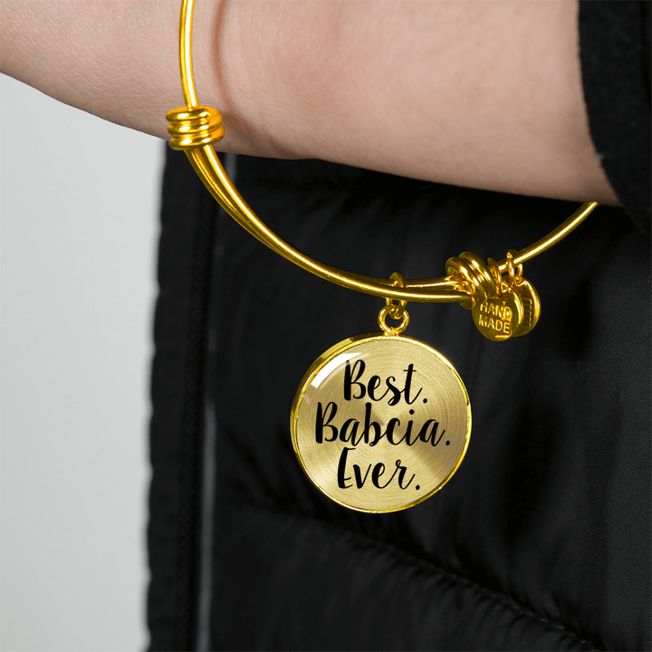 Gold Best Babcia Ever with Circle Charm Bangle - My Polish Heritage