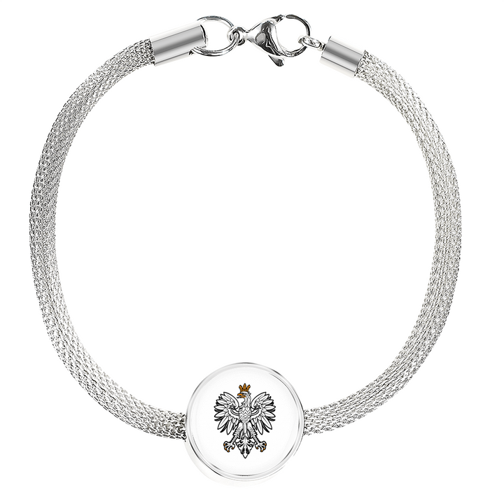 Polish Eagle With White Circle Charm Bracelet - My Polish Heritage