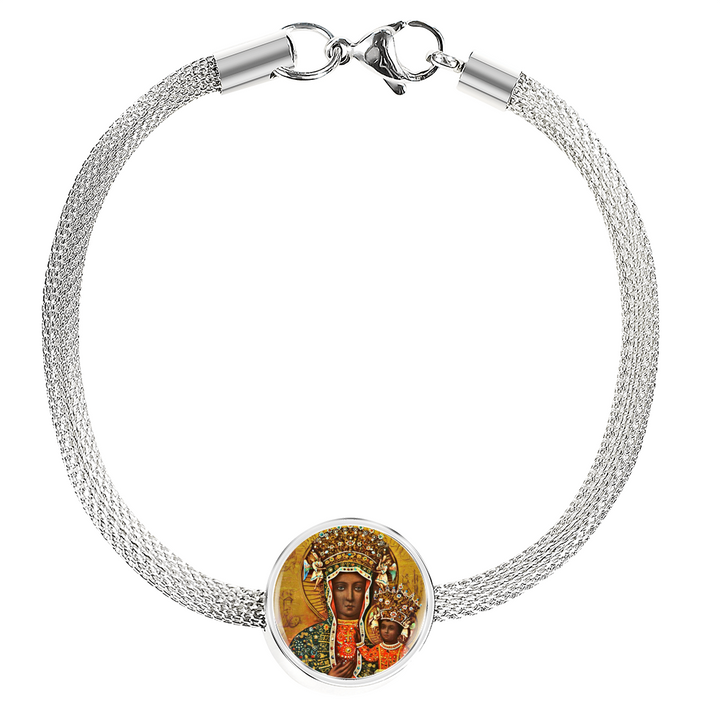 Black Madonna of Czestochowa with Circle Charm Bracelet - My Polish Heritage