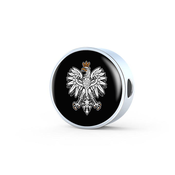 Polish Eagle With Black Circle Charm Bracelet - My Polish Heritage