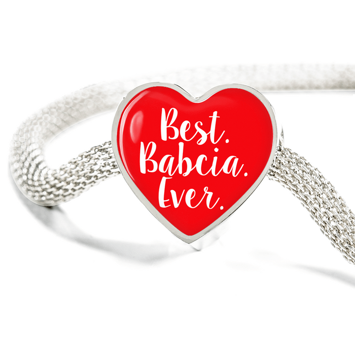 Best Babcia Ever with Red Heart Charm Bracelet - My Polish Heritage