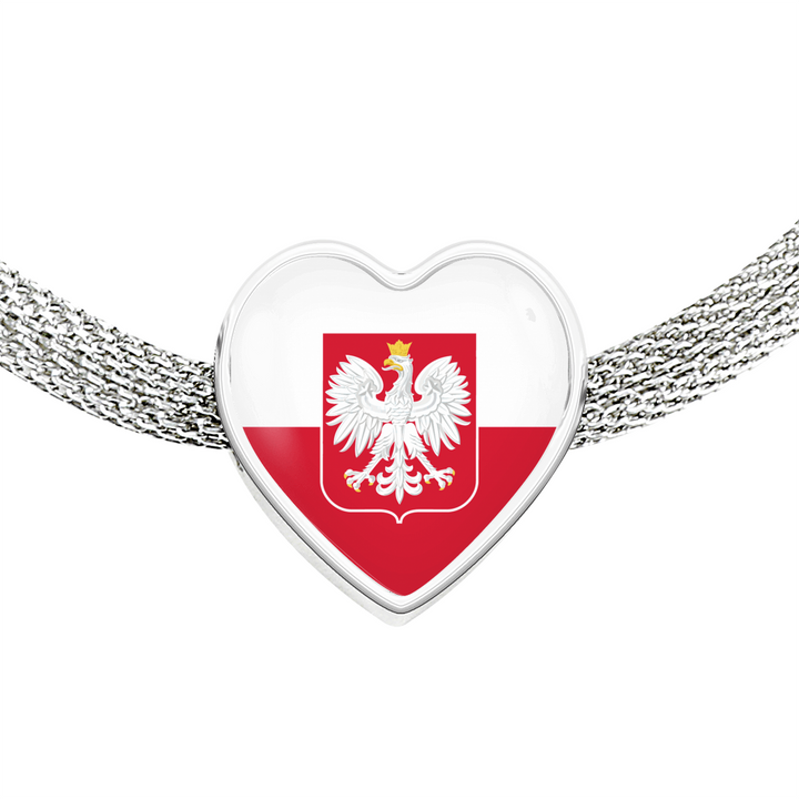 Polish Flag With Heart Charm Bracelet - My Polish Heritage