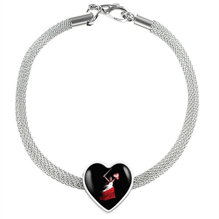 Polish Woman Warrior With Heart Charm Bracelet