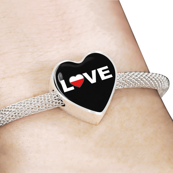 Polish Love with Heart Charm Bracelet - My Polish Heritage