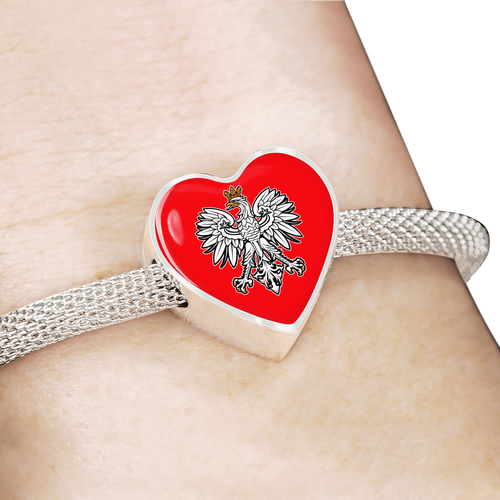 Polish Eagle With Red Heart Charm Bracelet