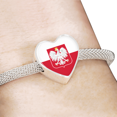 Polish Flag With Heart Charm Bracelet