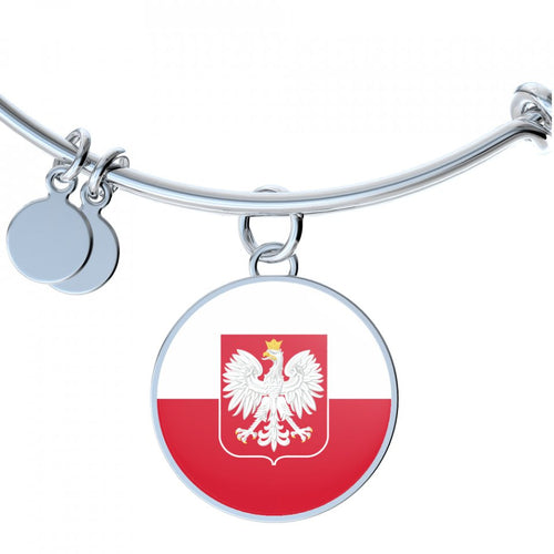 Polish Flag With Circle Charm Bangle