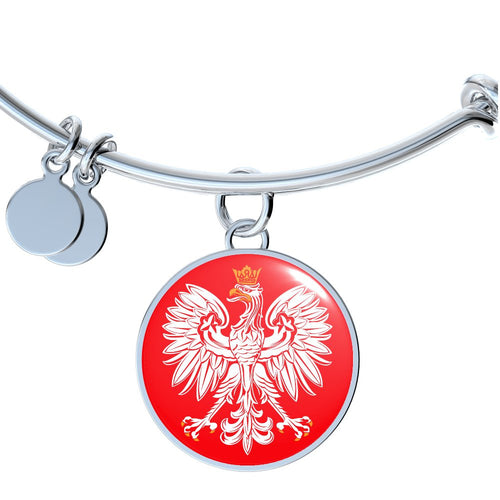 Polish Eagle With Red Circle Charm Bangle - My Polish Heritage
