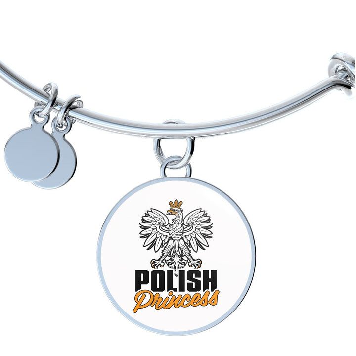Polish Princess With White Circle Charm Bangle