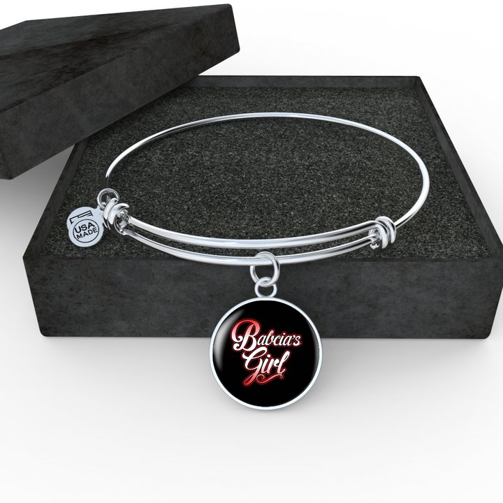 Babcia's Girl With Black Circle Charm Bangle - My Polish Heritage