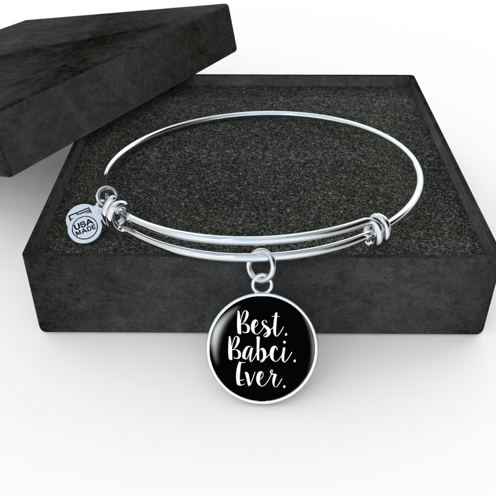 Best Babci Ever With Black Circle Charm Bangle - My Polish Heritage