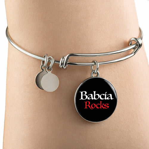 Babcia Rocks With Black Circle Charm Bangle - My Polish Heritage