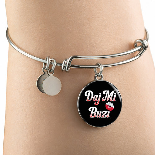 Polish Give Me A Kiss With Black Circle Charm Bangle - My Polish Heritage