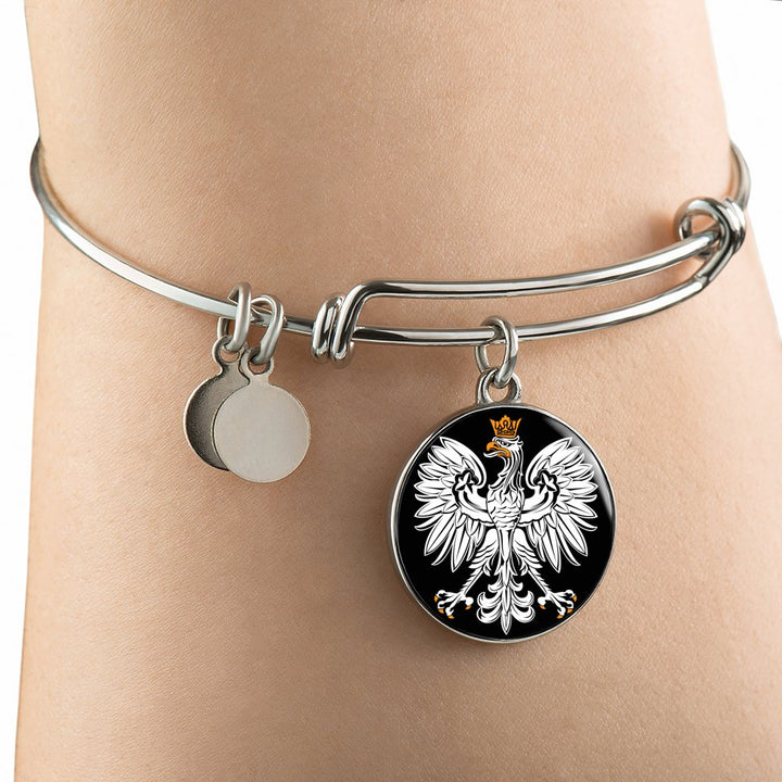 Polish Eagle With Black Circle Charm Bangle - My Polish Heritage