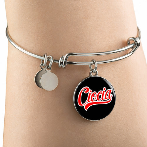 Ciocia With Black Circle Charm Bangle - My Polish Heritage
