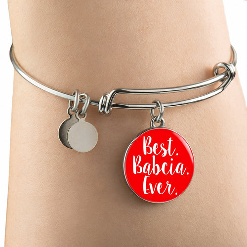 Best Babcia Ever With Red Circle Charm Bangle - My Polish Heritage