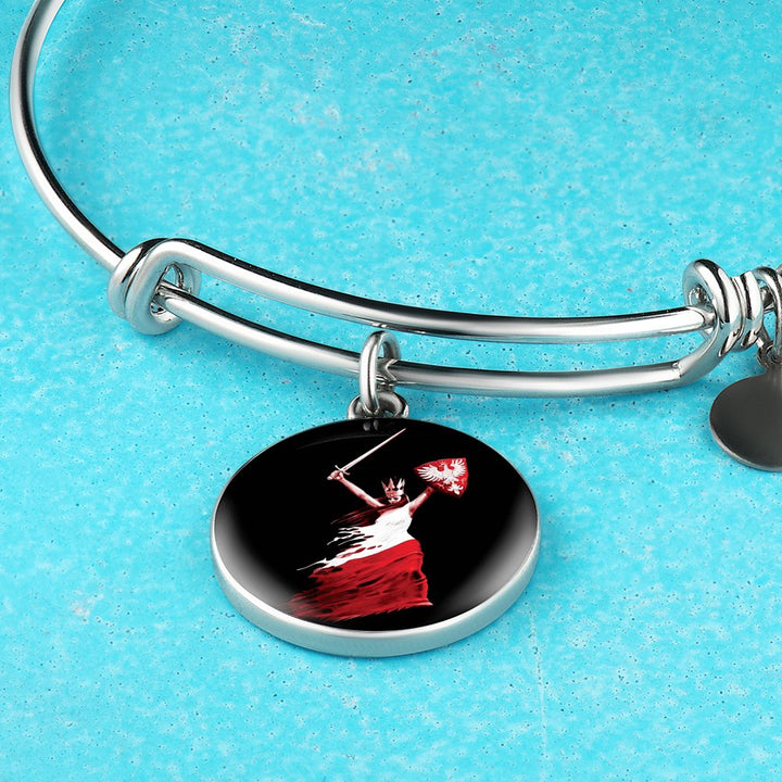 Polish Woman Warrior With Black Circle Charm Bangle