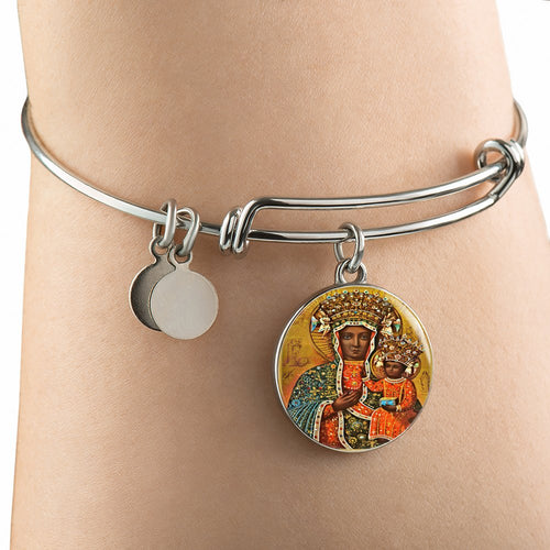 Black Madonna of Czestochowa with Circle Charm Bangle - My Polish Heritage