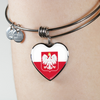 Polish Flag With Heart Charm Bangle - My Polish Heritage