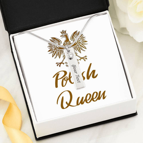 Polish Queen Birthstone Name Necklace. Personalized Christmas Gift