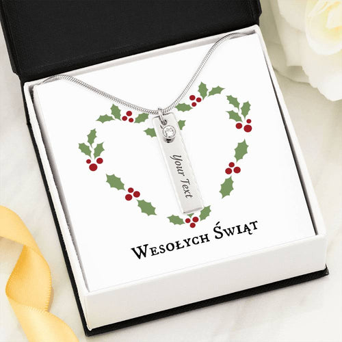 Wesołych Świąt Christmas Wreath Engraved. Personalized Birthstone Necklace Gift