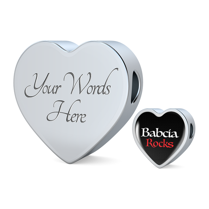 Babcia Rocks with Heart Charm Bracelet - My Polish Heritage
