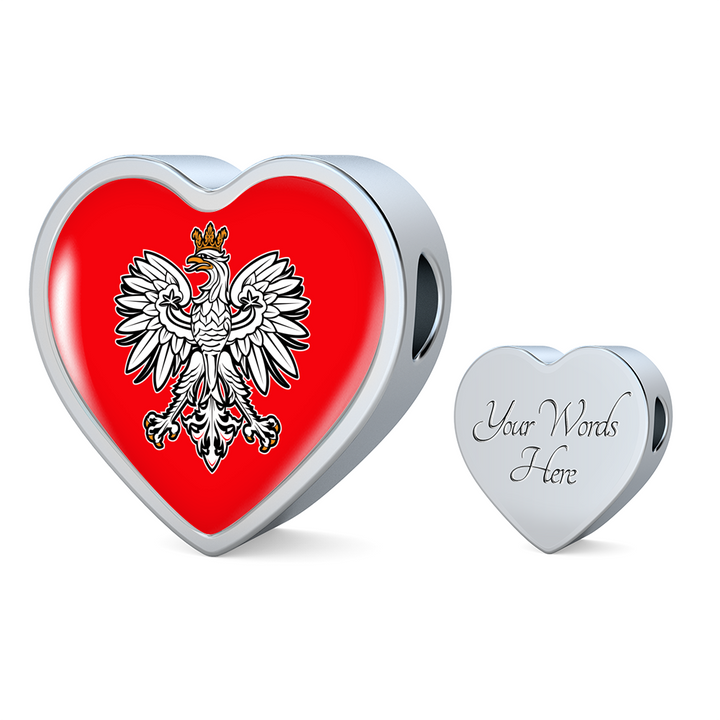 Polish Eagle With Red Heart Charm Bracelet - My Polish Heritage