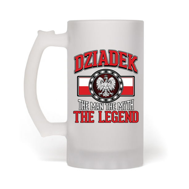 Dziadek The Man The Myth The Legend Frosted Beer Mug - My Polish Heritage
