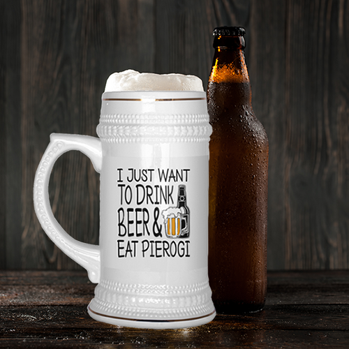 Polish beer stein, beer and pierogi mug, polish gift ideas