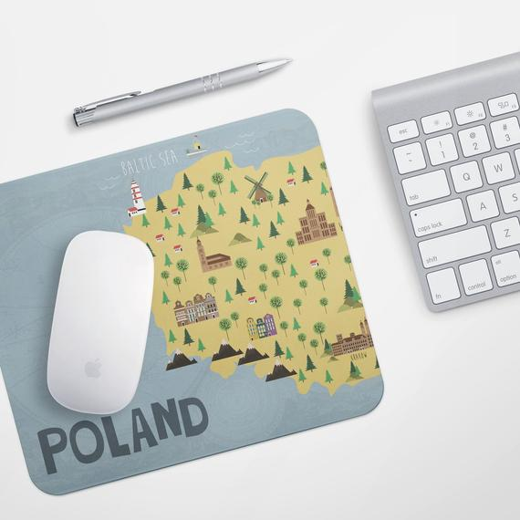 Poland Map Print Office Desk Accessories Mouse Pad