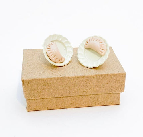 Handmade Pierogi on a Plate Stud Earrings.