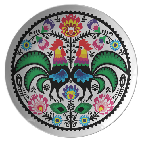 Polish Floral With Roosters Plate