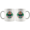 Polish Rooster Folk Art Design Circle Coffee Mug